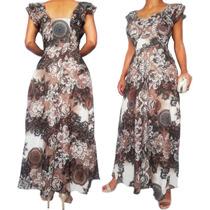 Vestido De Festa Longo Floral Moda Evangelica Estampado