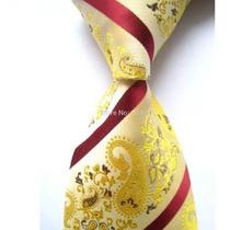 2 Gravatas Seda Importadas Dourada/vermelha /e Azul/rosa