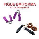 Kit De Acessórios Corda De Couro Cabo Madeira + Hand Grip