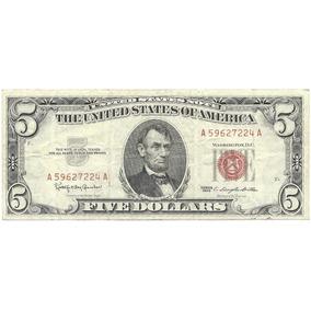 Antiguo Billete 5 Dolares 1963 Sello Rojo Mb- Palermo-