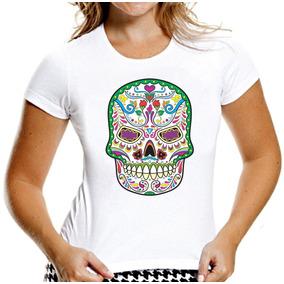 Camiseta Baby Look Caveiras Mexicanas Sugar Skull Mod 1