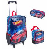 Kit Mochila G Hot Wheels 16m Rodinhas Sestini Azul Lisa Car