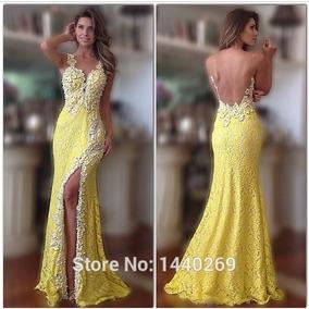 Vestido Com Apliques De Renda Amarela Longo Fendas Later