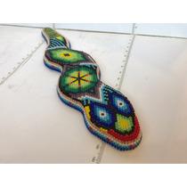 Arte Huichol, Manualidad Chaquira, Serpiente De Madera.única