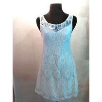 Vestido De Encaje Elastizado Blanco Con Canesú Talle Único