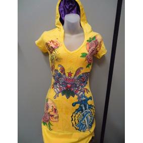 Vestido Ed Hardy - Amarelo Com Capuz Fundo Roxo - Original