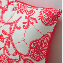 Funda P/ Almohadón Diseño Lace Rojo C/ Tela Importada