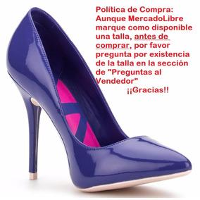 Zapatillas Andrea Stilettos Azules Charol Piel 11079