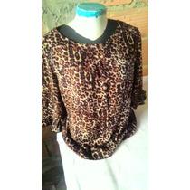 Camisa Blusa Feminina De Oncinha Tecido Leve Tamanho M