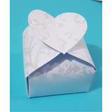 100 Caixinhas Para Bem Casados Coração Branco Floral 180g