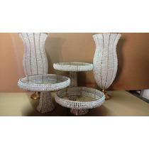 Vasos Com Pedrarias - 2 60cm -1 Trio Bandejas - Cristais
