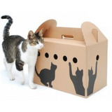 Caja Transportadora De Carton Para Gatos 46x30x35cm