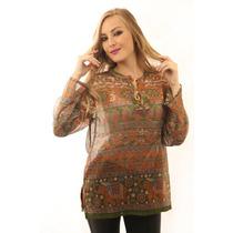 Bata Maia Indiana Verde E Laranja Roupa Moda Feminina