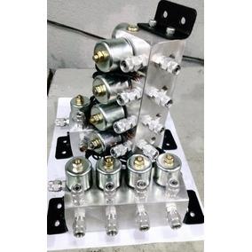 Bloco 8 Valvulas Suspensao Ar 8mm P/ Uso Kit Tebão , Castor