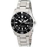 Seiko 5 Negro Dial Acero Inoxidable Reloj Automático Para