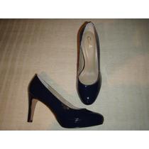 Zapato Gacel De Cuero Charol Y Terraplén Nº 37.azul.
