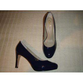 Zapato Gacel De Cuero Charol Y Terraplén Nº 36.azul.