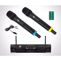 Microfone Tsi Ud1500 S/fio Duplo Mão + Bateria Recarregavel