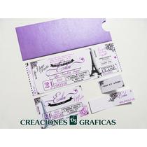 Tarjetas Invitaciones 15 Años Ticket Originales