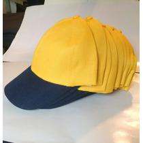 Gorras Gabardina Amarillas Azul Oscuro X 12