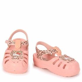 Sandália Infantil Feminina Crock Velcro Grendene Hello Kitty
