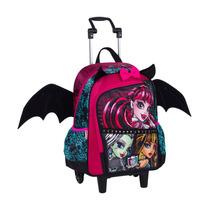Mochila Escolar Monster High Rodinha Alça E Asas De Morcego