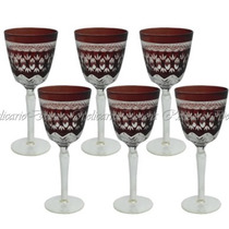 Conjunto De Taças Para Agua Em Cristal Vermelho Escuro