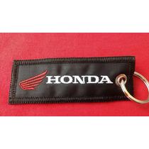 Chaveiro Moto Honda Preto Bordado Biz Cg Titan 2 Peças