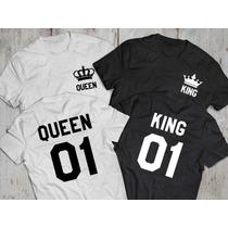 Kit Com 2 Camisetas T-shirt Casal King Queen Rei Rainha