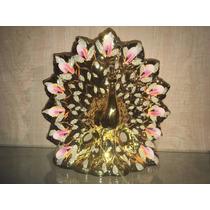 Figura Pavo Real De Porcelana Dorado Con Rosa 25 Cm Florero