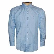 Camisa Social Ricardo Almeida Azul Claro Lisa Masculina
