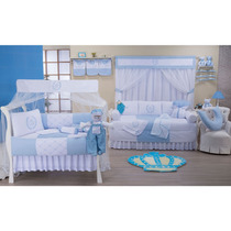 Quarto Completo Realeza Azul Bebê 36 Peças 100% Algodão Padr