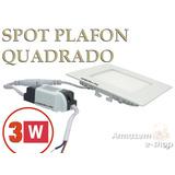 Painel Plafon 3w Luminaria Led Quadrado Ultra Slim Embutir