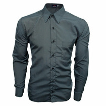 Camisa Social Masculina Fit Slim Detalhe Pequenas Listras