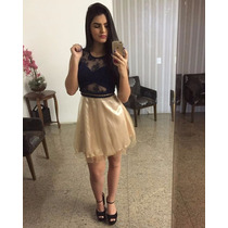 Vestido Evasê Curto Lola Bella - Tule C/bojo - Preto C/bege