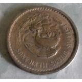 Moneda Mexico 10 Centavos Calendario Azteca 1945 Niquel M