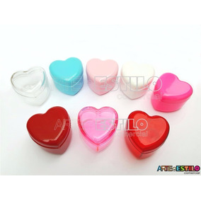 Embalagem Com 50 Caixinhas Coração Em Acrílico 4x4