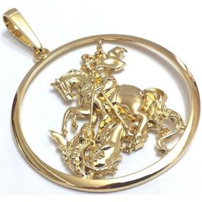Pingente Masculino São Jorge Folheado À Ouro 18k Dourado