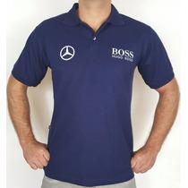 Camisa Polo Mercedes Benz Hugo Boss - Marinho - Bordada