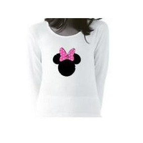 Remera Estampada Minnie Manga Larga P/ Nena Todos Los Talles