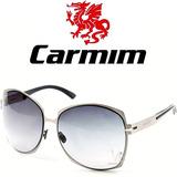Óculos De Sol Feminino Carmim Metal Grande Prata Degradê