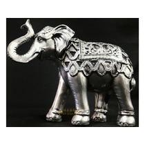 Elefante Indiano Decorar Sorte Sabedoria Espelhado Estatueta
