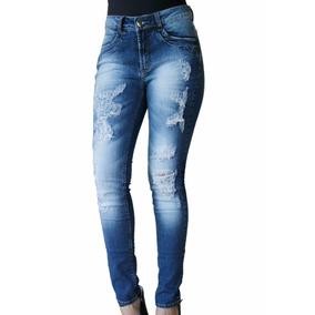 Calça Jeans Feminina Denuncia Com Puídos Perfeita