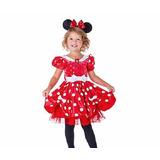 Fantasia Minie Mouse Vestido Vermelho Disney Store Luxo3anos
