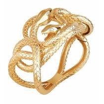 Bracelete Cobras Entrelaçadas Olho Navete De Diamante - Bt11