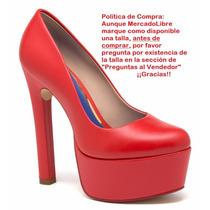 Zapatillas Andrea Rojas Piel Pump Con Plataforma 15cms 18272