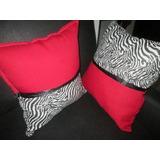 Bellos Cojines Animal Print Cebra Con Rojo