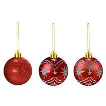Bolas Natal 5cm - 20 Estrela Vermelha / 20 Monaco Vermelha