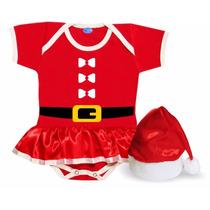 Body Saia Roupa Mamãe Noel Para Bebê + Gorro Cetim Vermelho