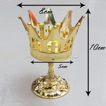 Mini Coroa Rei Metalizada Plástico Lembrancinhas Kit 05 Pçs